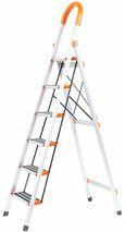 Лестница-стремянка усиленная алюм. c прорезиненными ступенями (4 ступ.,оранж.)